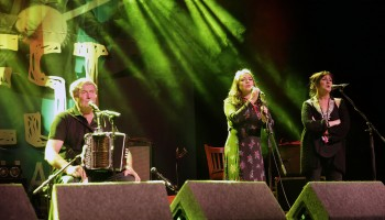 Seamus Begley, performing with Lumiere's Pauline Scanlon and Eilis Kennedy at Folkfest Killarney at the INEC, Killarney