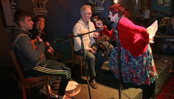 Máire Conroy, Kingdom Céilí, Radio Kerry, enterviewing concertina player Noel Hill, at The Gathering, Annual Traditional Festival, a mix of live concerts, set dance classes, instrument workshops and lectures at The Gleneagle Hotel, Killarney