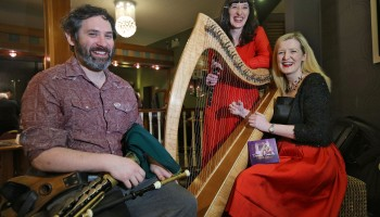 Renowned Harpist Deirdre Granville from Dingle, launching her new Album 'IMRAM' with her Sister, Flautist Dr Aoife Granville and Uileann Piper, Brendan McCreanor, at The Gathering, Annual Traditional Festival, a mix of live concerts, set dance classes, instrument workshops and lectures at The Gleneagle Hotel, Killarney