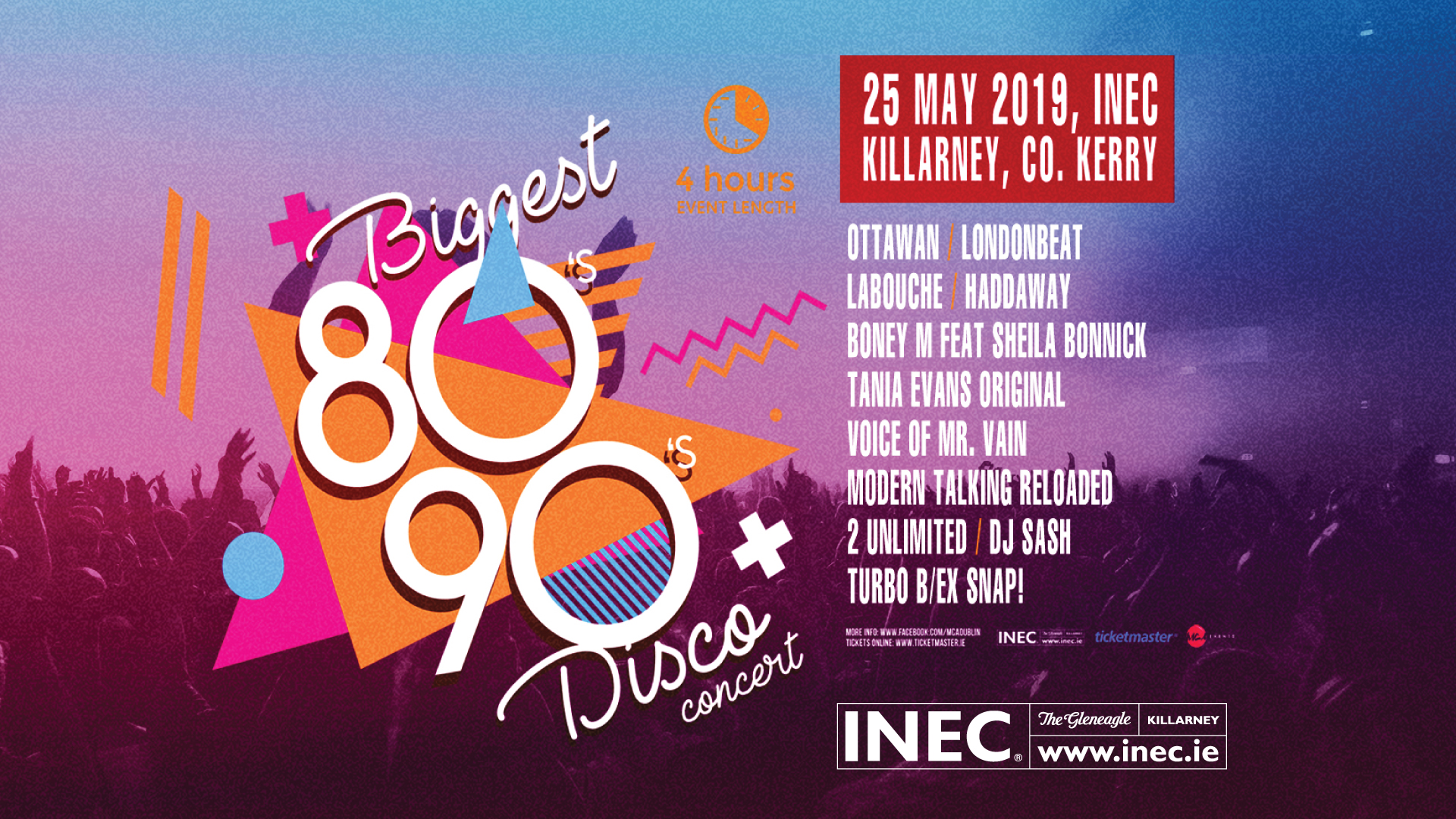Biggest 80's & 90's Disco and Concert comes to the INEC Killarney May 25th 2019